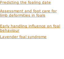 Predicting the foaling date  Assessment and foot care for limb deformities in foals  Early handling influence on foal behaviour Lavender foal syndrome
